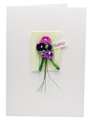 Purple Bouquet Thank You Greetings Card